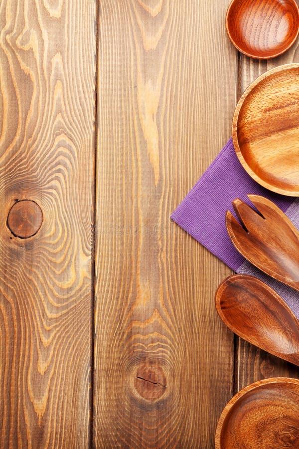 Ustensiles en bois de cuisine photos libres de droits