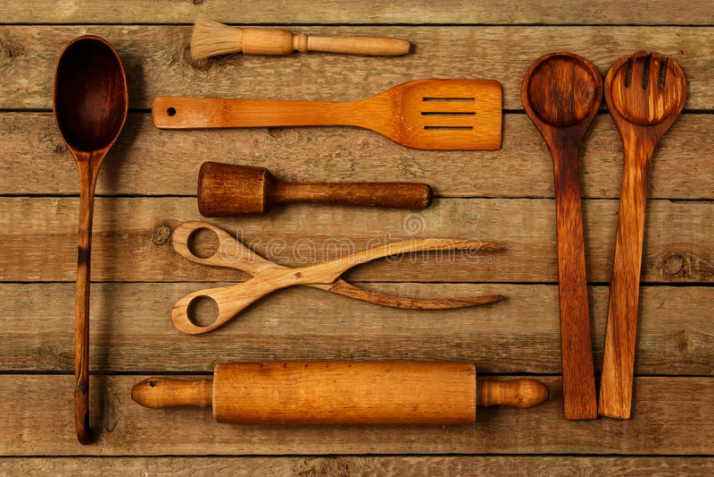 Ustensiles en bois de cuisine photo stock