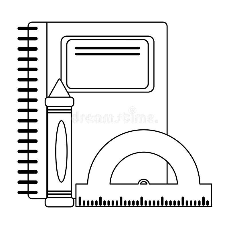 Ustensiles et approvisionnements d'école en noir et blanc illustration de vecteur