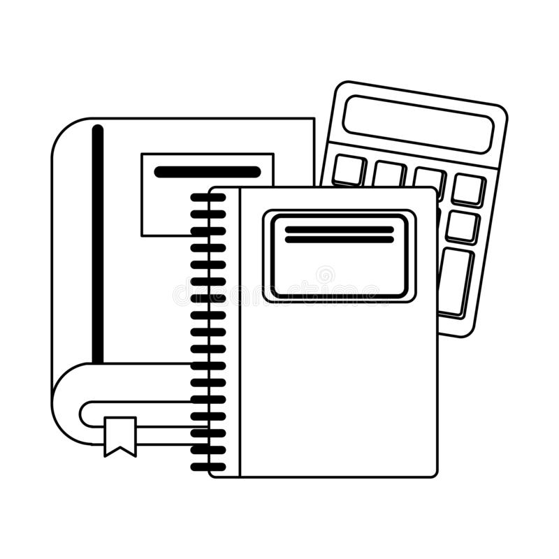 Ustensiles et approvisionnements d'école en noir et blanc illustration stock