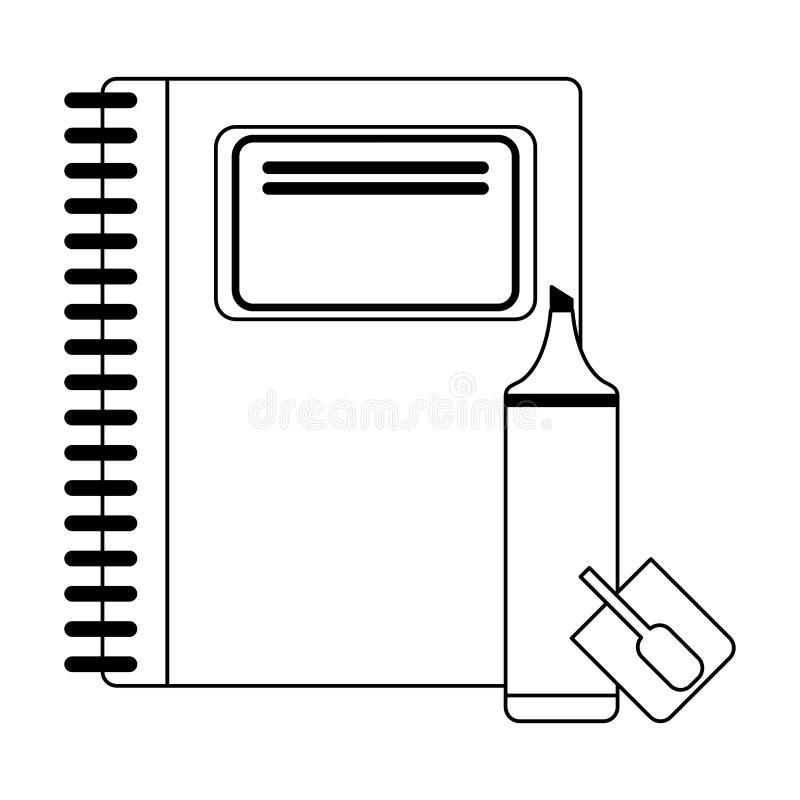 Ustensiles et approvisionnements d'école en noir et blanc illustration libre de droits