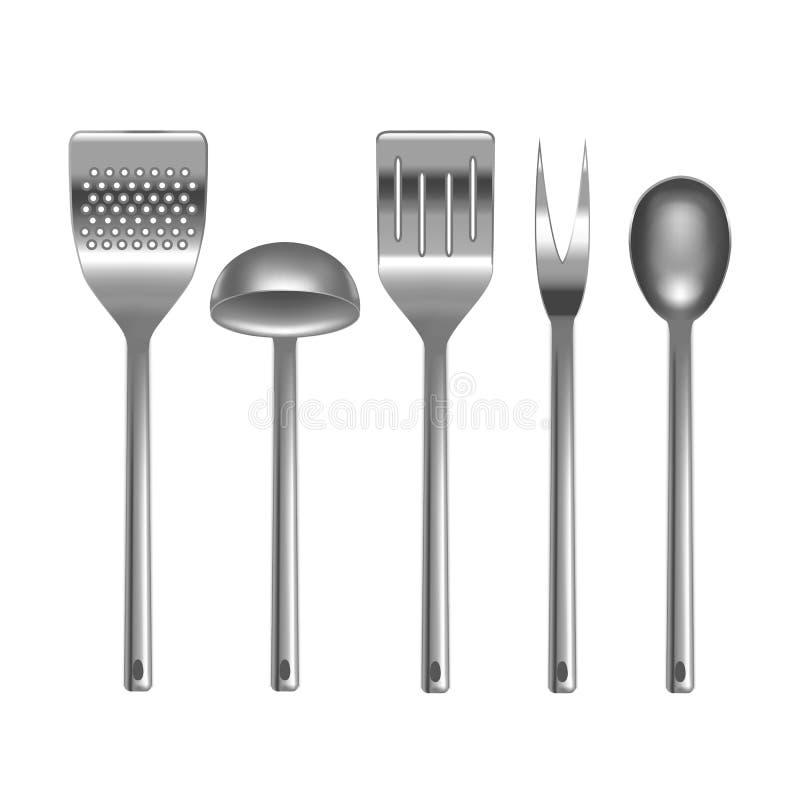 Ustensiles réalistes de cuisine en métal réglés Vecteur illustration stock