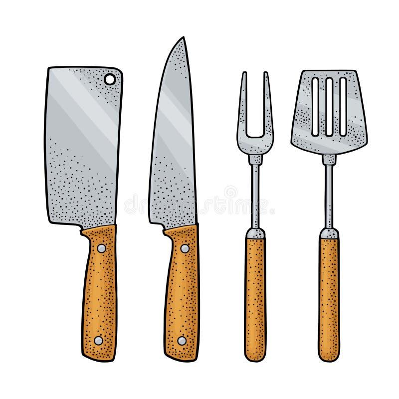 Ustensiles réglés de BBQ Spatule, fourchette, couteaux Gravure de couleur de vecteur illustration de vecteur