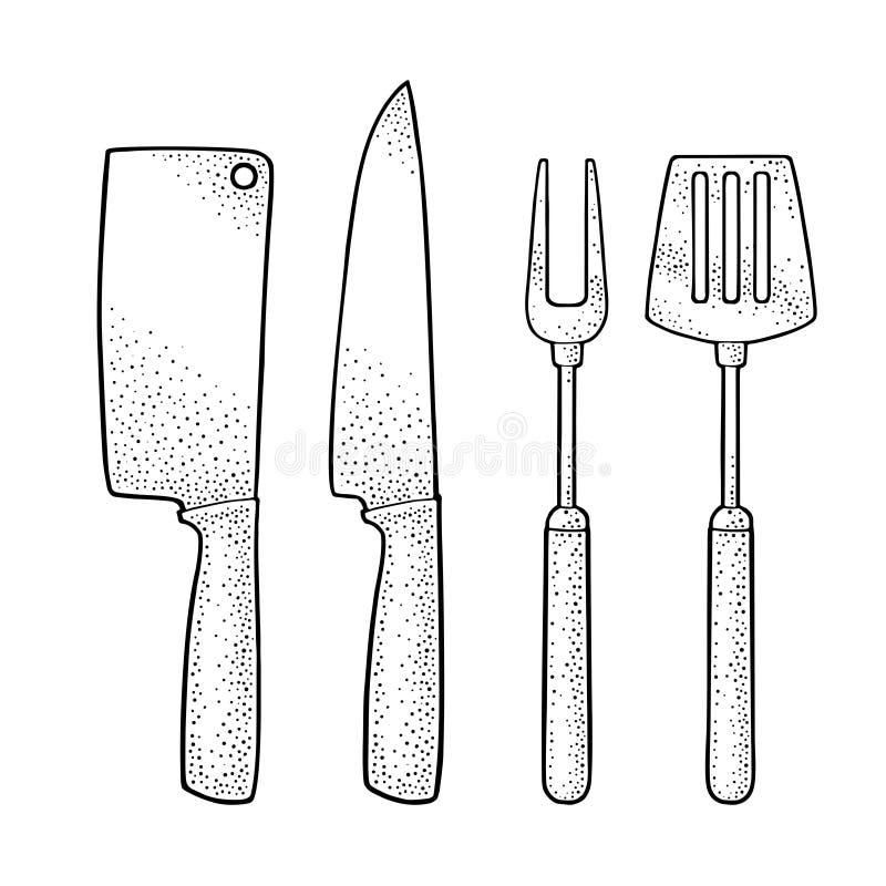 Ustensiles réglés de BBQ Spatule, fourchette, couteaux Gravure de vecteur illustration de vecteur