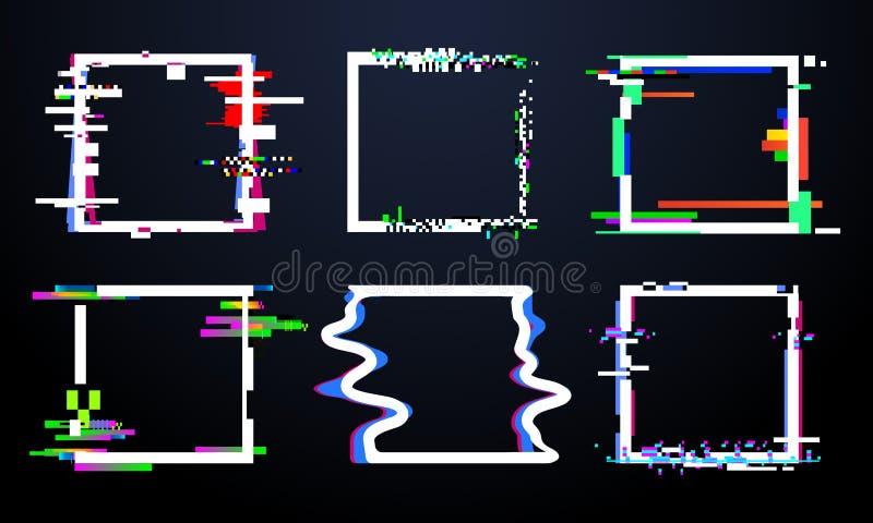 Usterka kwadrata rama Modni glitched kwadraty kształtują, abstrakcjonistyczne dynamiczne geometrii ramy z hałas usterkami wykośla ilustracji