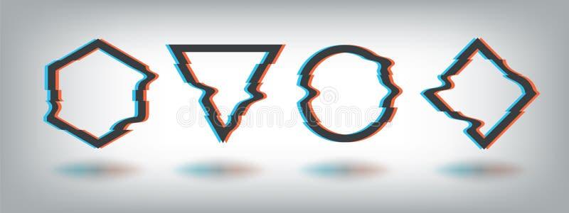Usterka skutka ramy Zniekształcający hałasu kształt, vhs tv defekt, dynamiczny abstrakcjonistyczny muzyczny logo, okręgu trójboka royalty ilustracja