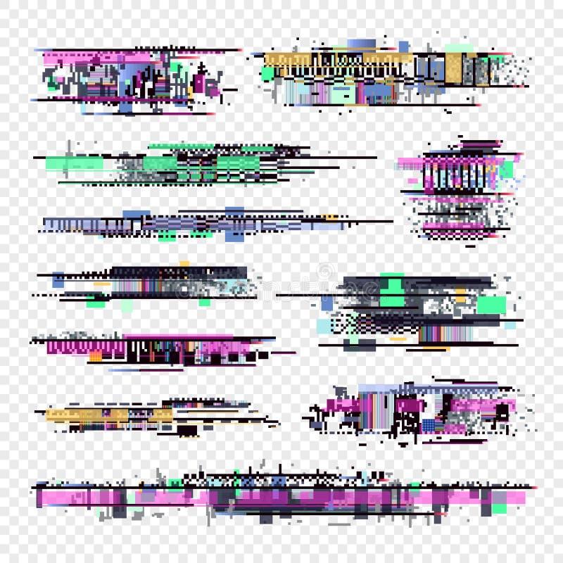 Usterka wektoru elementy Glitched ekranu komputerowego hałasu cyfrowa kolekcja ilustracja wektor