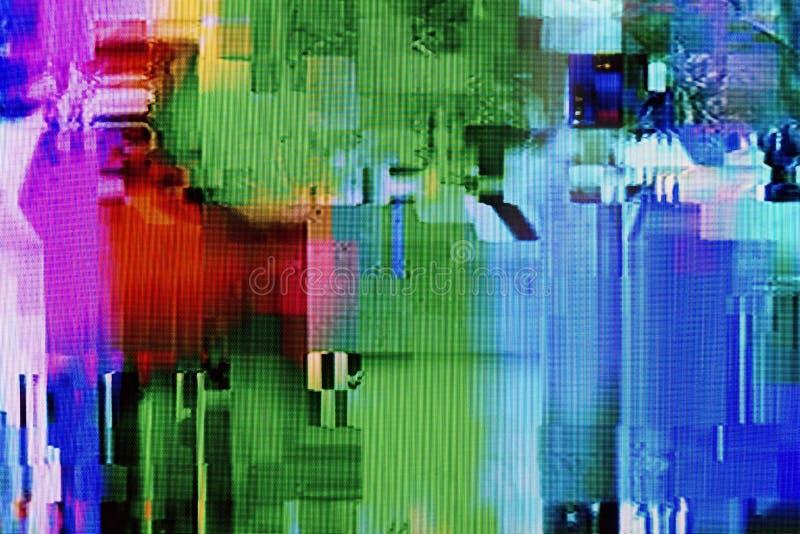 Usterki, cyfrowa interferencja i wykoślawienie na LCD TV ekranie, zdjęcie stock