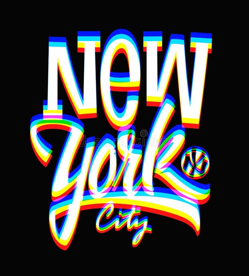 Usterki Miasto Nowy Jork etykietka, typograficzny projekt ilustracja wektor