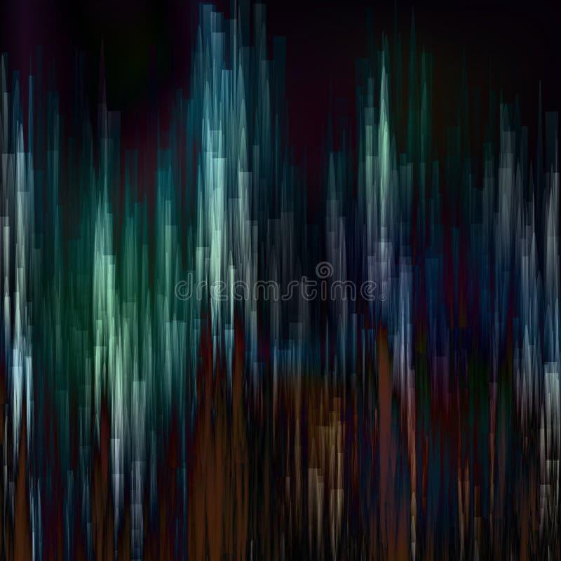 Usterki tła wektor Cyfrowego piksla hałasu abstrakcjonistyczny projekt Kolorowi Ciemni Glitched lampasy royalty ilustracja