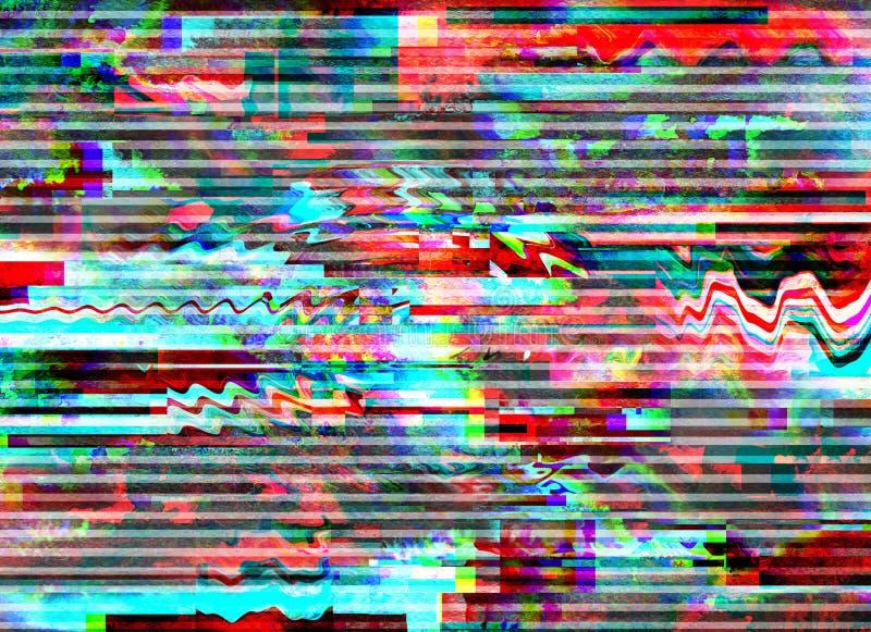 Usterki tło Ekranu komputerowego błąd Cyfrowego piksla hałasu abstrakcjonistyczny projekt Fotografii usterka Telewizja sygnału fa royalty ilustracja
