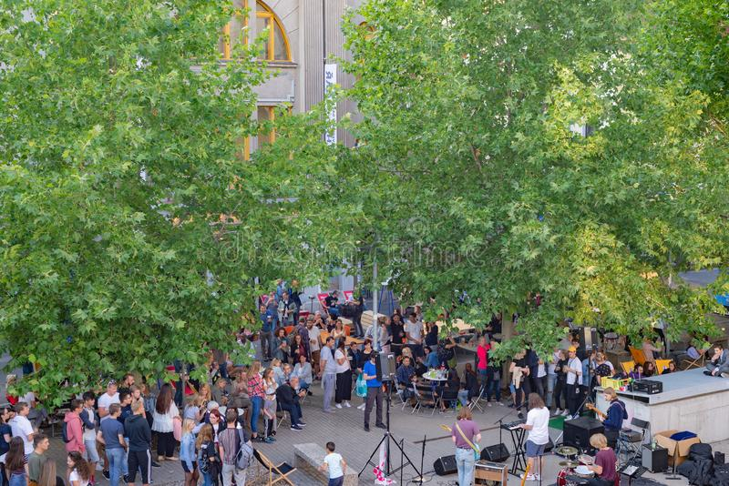 Audience at yearly Summer music open air outdoor festival held in Hranicar public hall the stock images