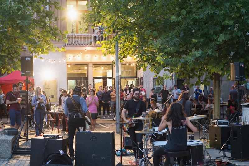 Audience at yearly Summer music open air outdoor festival held in Hranicar public hall the stock photography
