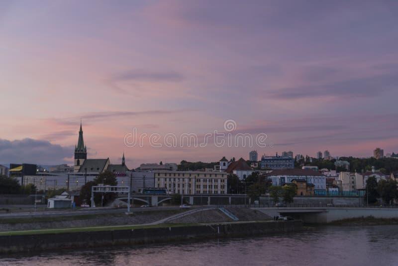 Usti nad Labem po różowego zmierzchu zdjęcie royalty free
