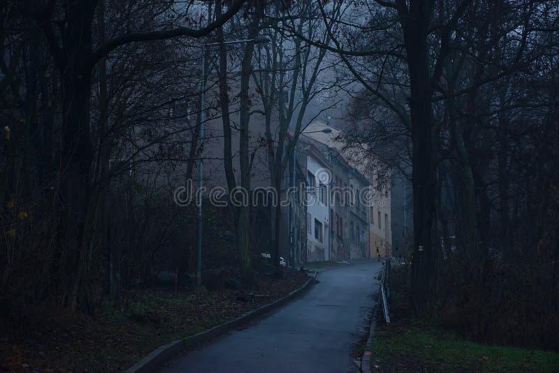 Usti nad Labem, repubblica Ceca - 3 dicembre 2018: case in via del Na Vetrusi nel centro della città nebbiosa alla sera immagini stock libere da diritti