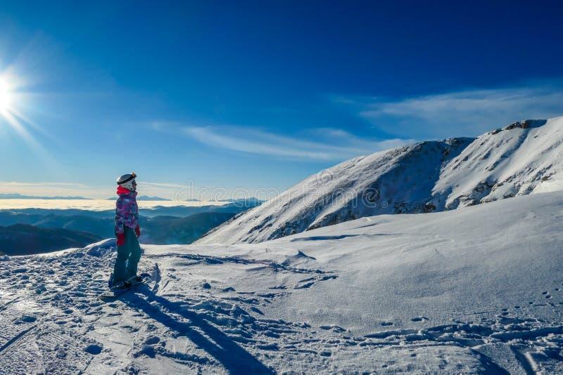 ?ustria - uma menina da snowboarding que admira a vista em montanhas altas fotografia de stock