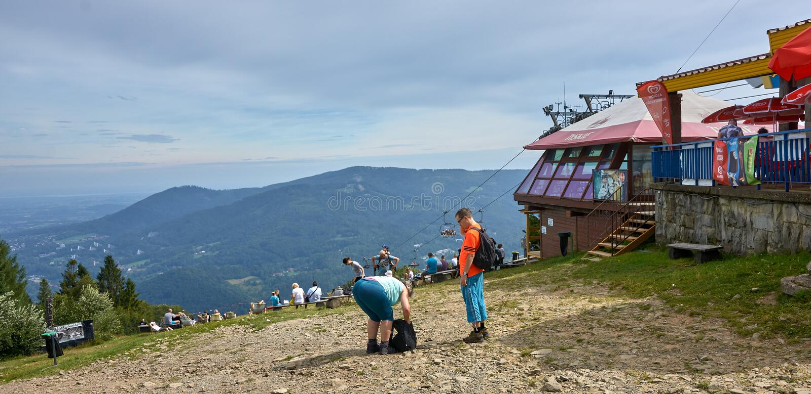 USTRON, POLAND - AUGUST 10, 2019: Lift to the top of Czantoria o stock image