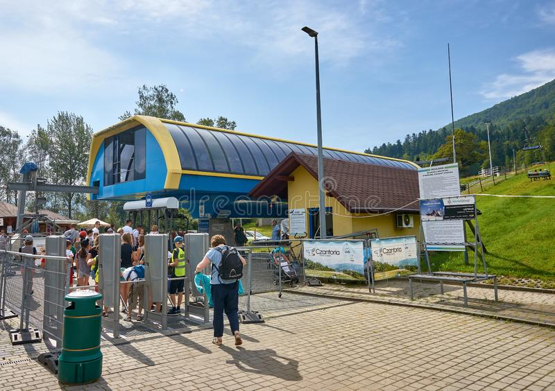 USTRON, POLAND - AUGUST 10, 2019: Lift to the top of Czantoria o royalty free stock photo