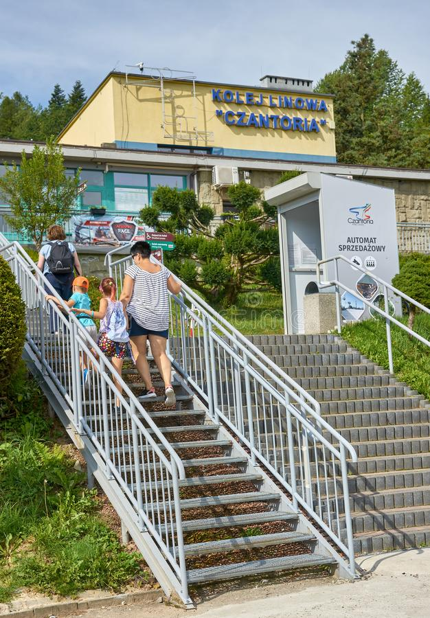 USTRON, POLAND - AUGUST 10, 2019: Lift to the top of Czantoria o royalty free stock photography