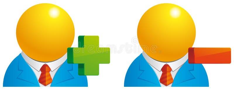 Usuário adicione/supressão ilustração stock