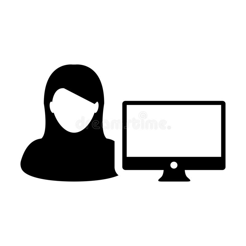 Usuário da pessoa fêmea do vetor do ícone da rede com avatar da tela de monitor do computador na cor lisa no símbolo do pictogram ilustração royalty free