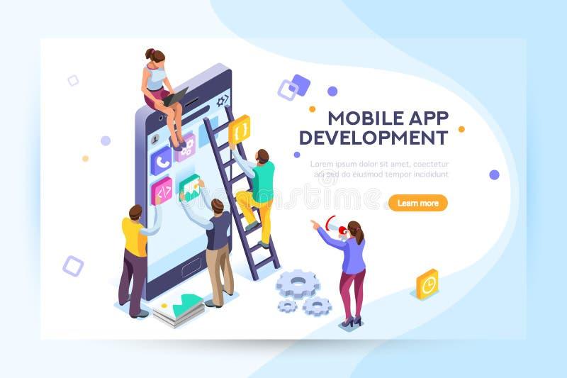 Usuário e colaboradores móveis da aplicação ilustração do vetor
