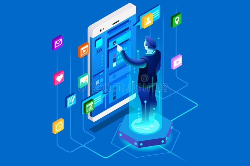 Usuário móvel da aplicação do escritório ilustração do vetor