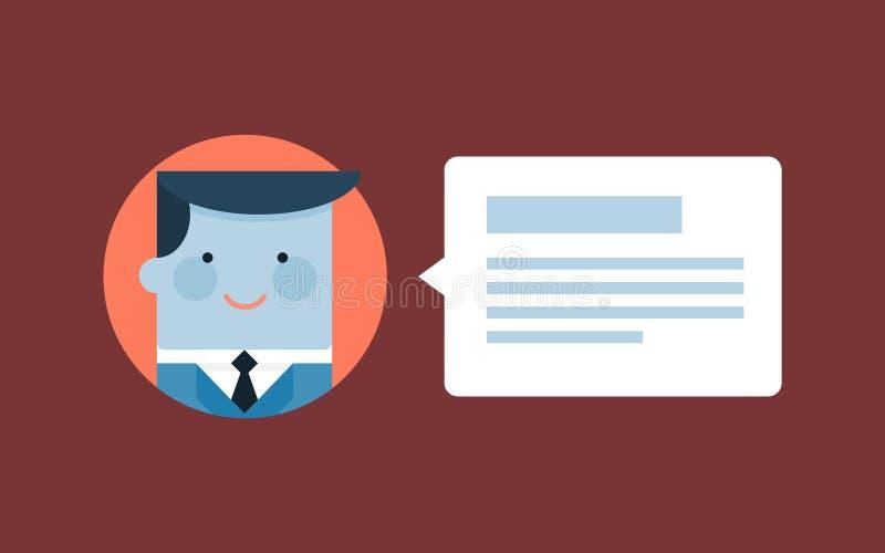 Usuário que deixa um comentário ou uma homenagem ilustração do vetor