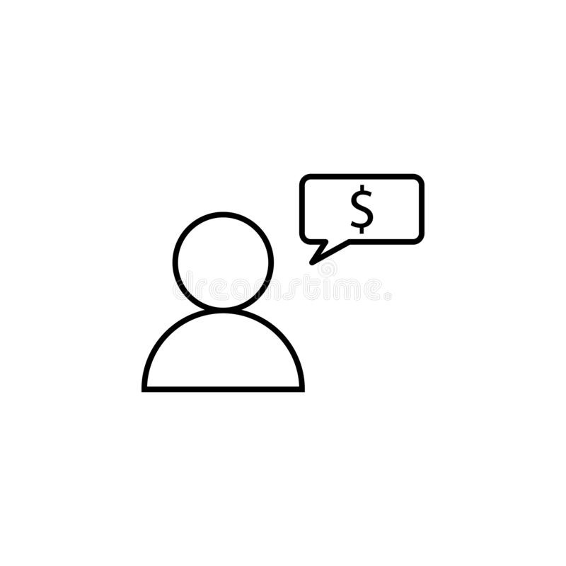 Usuário, trabalhador, bolha, ícone do dólar Elemento da ilustração da finança Os sinais e o ícone dos símbolos podem ser usados p ilustração royalty free