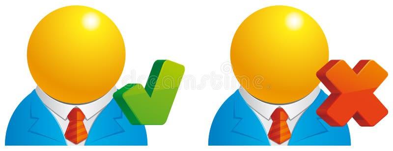 Usuário verific/cancelado ilustração stock