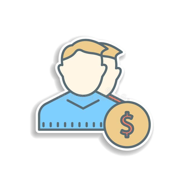 usuários no ícone da etiqueta dos dólares Elemento do ícone da operação bancária da cor Ícone superior do projeto da etiqueta da  ilustração royalty free