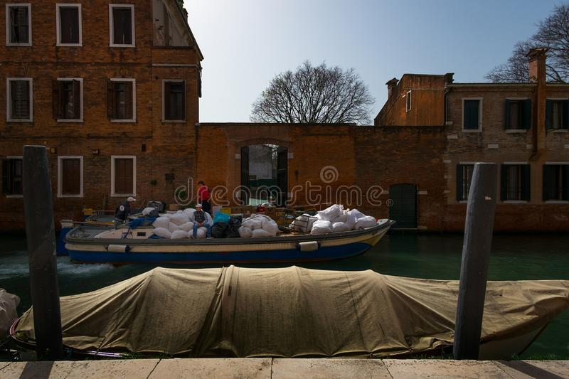 The usual life of the Venetian lagoon. stock image
