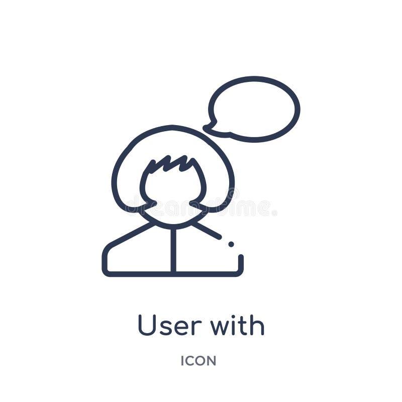 usuario con el icono de la burbuja del discurso de la colección del esquema de la interfaz de usuario Línea fina usuario con el i libre illustration