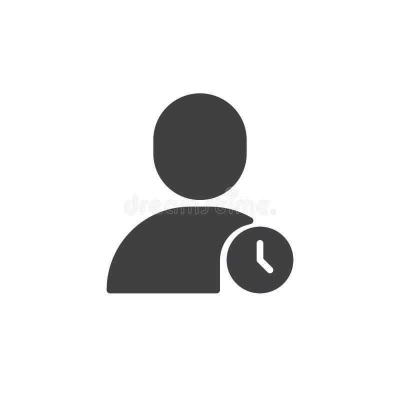 Usuario con el icono del reloj stock de ilustración