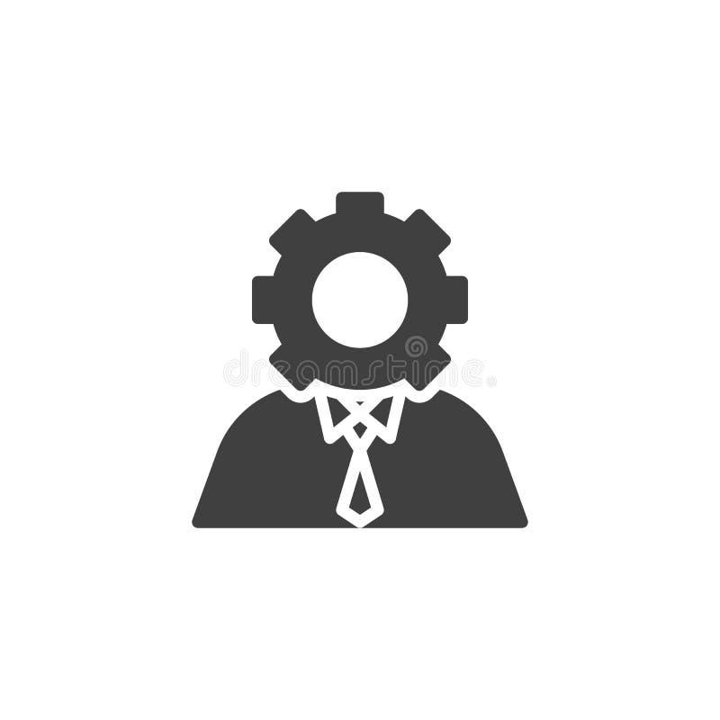 Usuario con el icono del vector de la cabeza del engranaje stock de ilustración