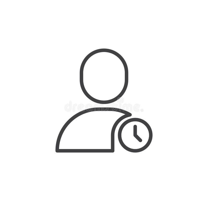 Usuario con la línea icono del reloj ilustración del vector