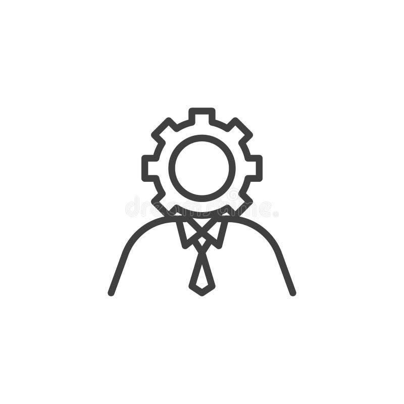Usuario con la línea principal icono del engranaje ilustración del vector