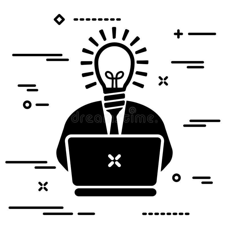usuario con una bombilla en lugar de una cabeza y una corbata trabajando en una laptop, ilustración conceptual de una persona ins stock de ilustración