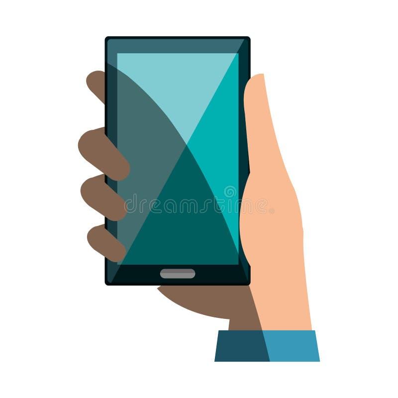 Usuario de la mano con el icono aislado dispositivo del smartphone libre illustration