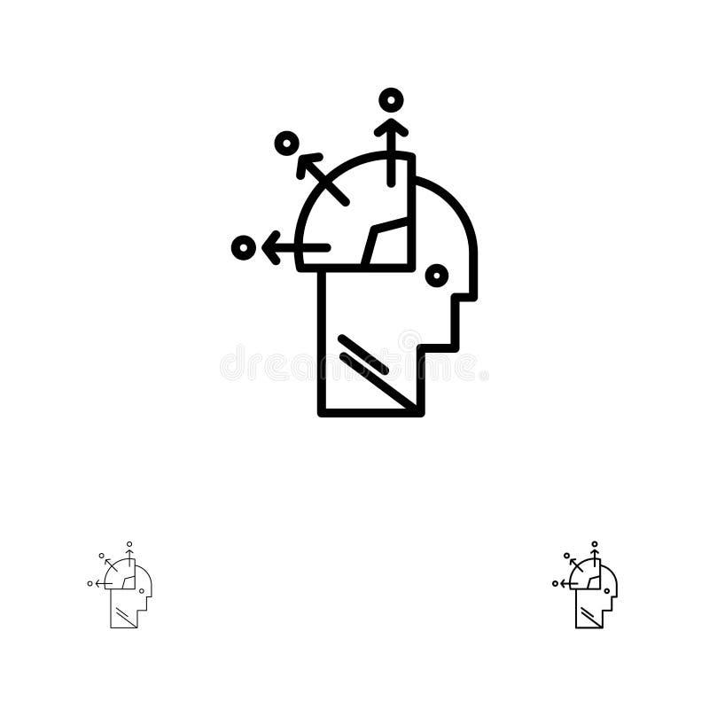Usuario, hombre, mente que programa, Art Bold y línea negra fina sistema del icono stock de ilustración
