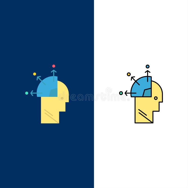 Usuario, hombre, mente que programa, Art Icons El plano y la línea icono llenado fijaron el fondo azul del vector ilustración del vector