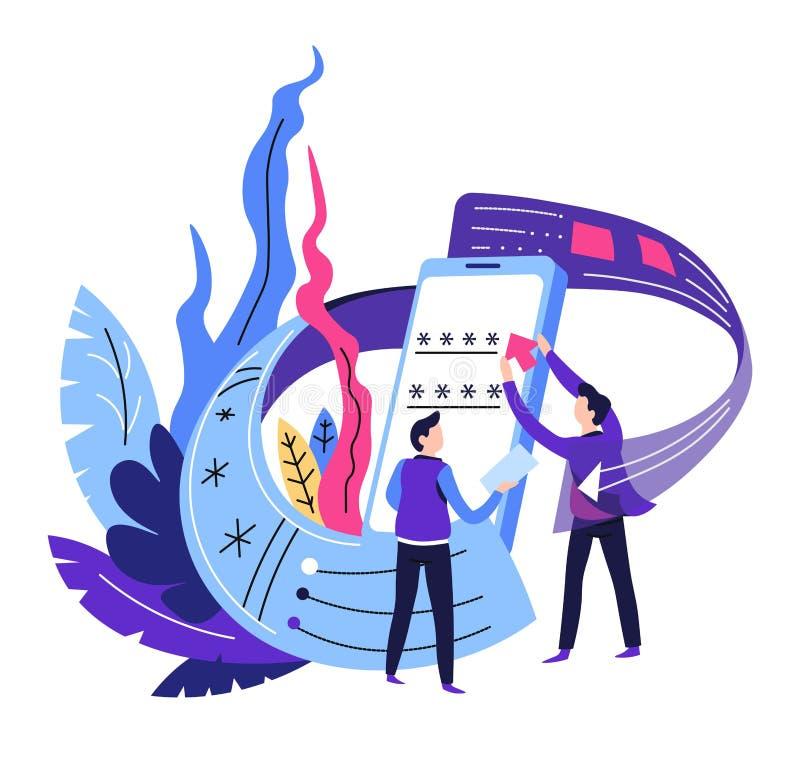 Usuario y programador de la protección del smartphone de la contraseña de la seguridad del dispositivo ilustración del vector