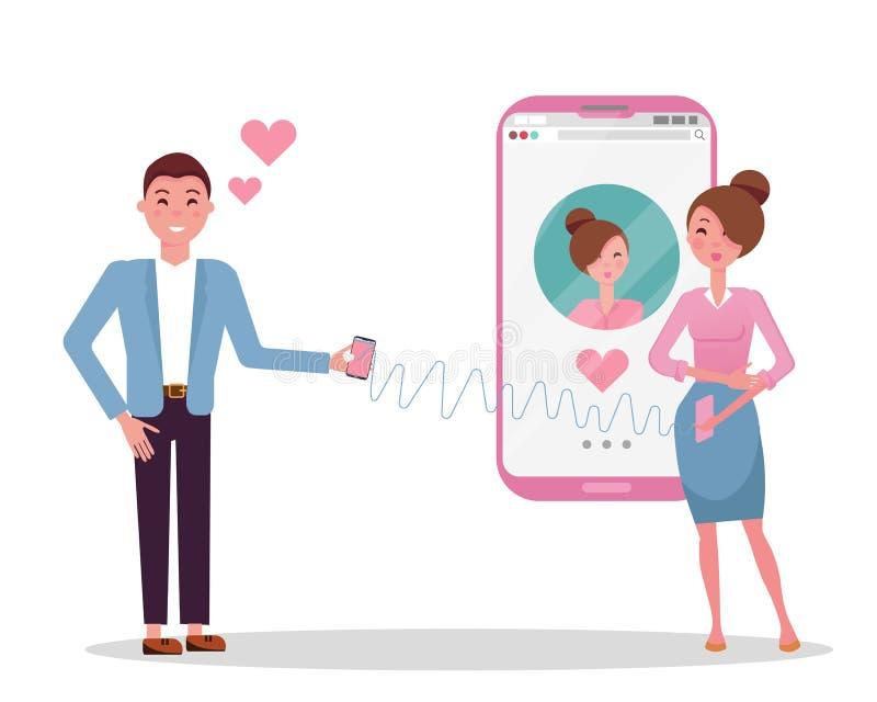 Usuarios en línea del app que fechan Conocido del hombre y de mujer en red social El hombre está en amor con una muchacha de fech ilustración del vector