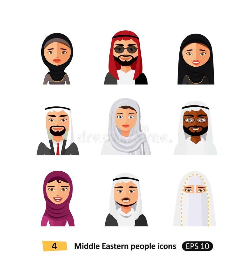 Usuarios planos del árabe de los iconos de diverso de la gente vector determinado de Oriente Medio del avatar stock de ilustración