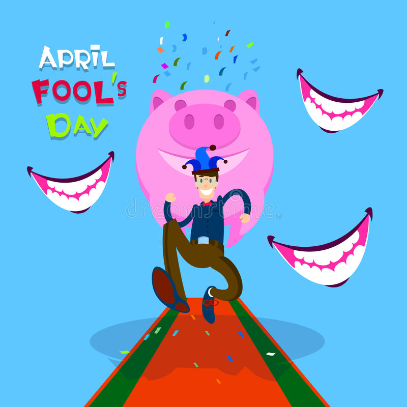 Usura di uomo Jester Running, bocca sorridente, porcellino salvadanaio, prima April Fool Day Happy Holiday royalty illustrazione gratis
