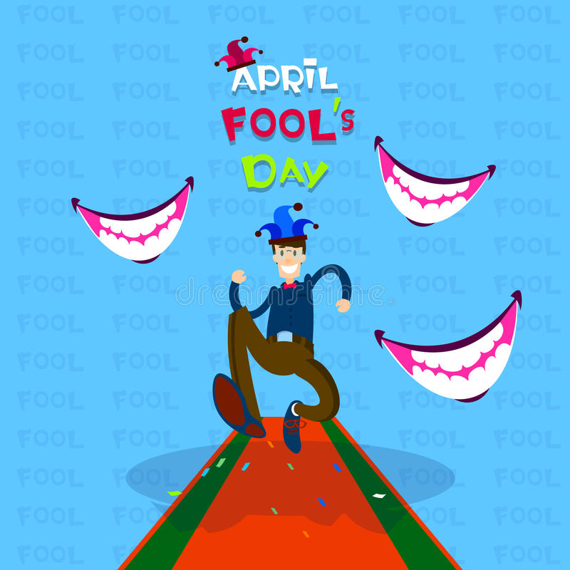 Usura di uomo Jester Running, bocca sorridente, prima April Fool Day Happy Holiday illustrazione di stock
