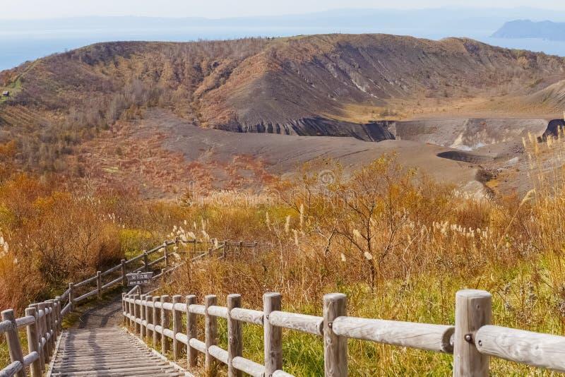 Usuzan-Krater im Herbst stockbilder