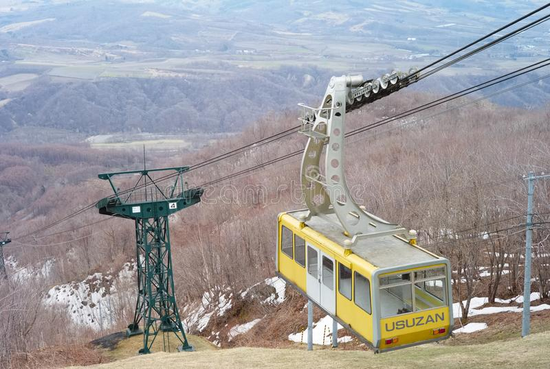 Usuzan Ropeway. Mount Usu usuzan is a volcano which has erupted four times in the past 100 years. Its most recent eruption occurred in the year 2000 stock photo