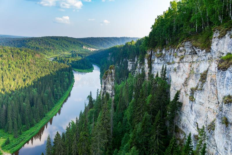 The Usva river in the Perm region with its stone pillars and high, rocky coast royalty free stock image