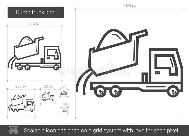 Usyp ciężarówki linii ikona ilustracja wektor